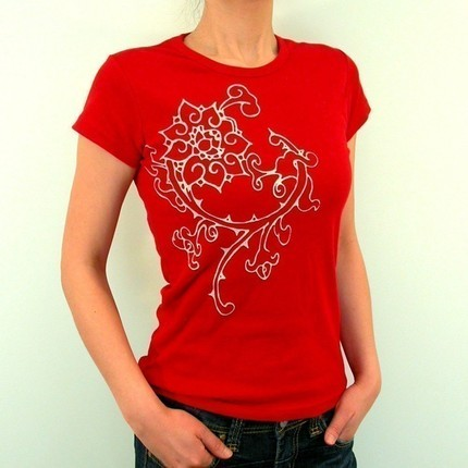 Vintage Big flower TaTToo art design ReD ladies T shirt by Ahpeele