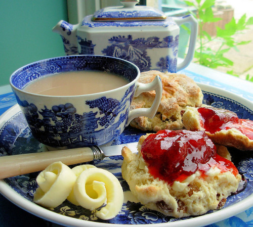 dreamsmaylinger:  Pot of Tea, Scones, Butter and Jam. (by Karen)