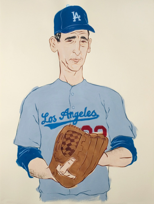 "erinwong:  Sandy Koufax 22"" x 30"", Ink & Gouache  The Great Mr. Koufax!"
