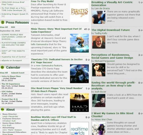 "Gamasutra front page. Featured Blogs: Len de Gracia on "" Breaking a Visually Art-Centric Generation"" And me on "" I Want My Games In Bite Sized Chunks!  """
