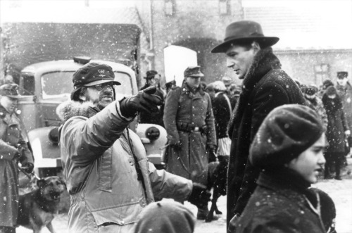 Steven Spielberg and Liam Neeson on the set of Schindler's List, 1993.