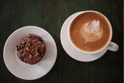 A mocha latte & spicy chocolate pistachio muffin at Northside Social in Clarendon. Love this place. And loving this perfect Sunday.