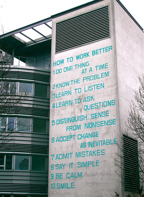 Fischli & Weiss 'How to Work Better' Mural on office building in Zurich-Oerlikon. via benedictfroggatt