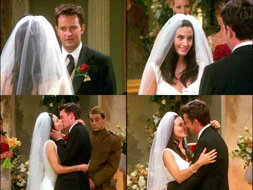 "MY TOP 5 TV COUPLES #5: Monica and Chandler, Friends  I love Monica and Chandler because there's something about them that's more than just friends or just a ""couple"". They're funny and they're entertaining and they can dish it out to each other but at the same timethey can be truly kind and sweet to each other, and I love that. There's layers to them, as friends and as a couple, and I just love them. I never thought I'd end up loving them, but they're hard not to adore."