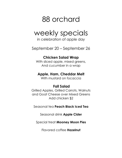 SPECIALS (in anticipation of Apple Day on Sunday!)