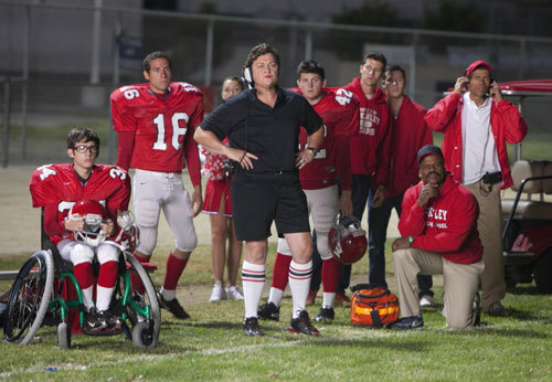 "GLEE: Coach Beiste (guest star Dot Marie Jones, C) and the football team  watch from the sidelines in the ""Grilled Cheesus"" episode of GLEE  airing Tuesday, Oct. 5 (8:00-9:00 PM ET/PT) on FOX. ©2010 Fox  Broadcasting Co. CR: Adam Rose/FOX HQ: http://img830.imageshack.us/img830/5383/203gleeep203sc25030.jpg"