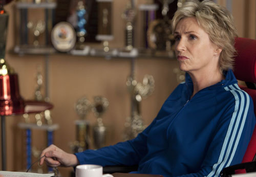 "GLEE: Sue (Jane Lynch) is up to no good in the ""Grilled Cheesus"" episode  of GLEE airing Tuesday, Oct. 5 (8:00-9:00 PM ET/PT) on FOX. ©2010 Fox  Broadcasting Co. CR: Adam Rose/FOX HQ: http://img193.imageshack.us/img193/7500/203gleeep203sc20003.jpg"