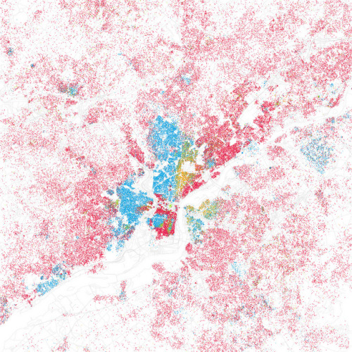 Race and ethnicity: Philadelphia (by Eric Fischer) Segregation, Philadelphia-style! Not a whole lot of purple goin' on there. (Red is white, blue is black.)