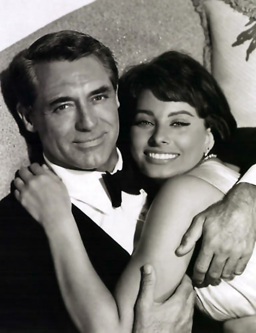 hedda-hopper:  Cary Grant and Sophia Loren  Dress in proper black tie, and perhaps this will happen to you.