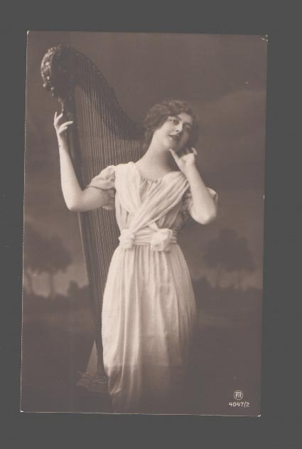 fyharps:  Late Edwardian postcard with 1700s style harp.