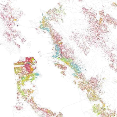 "Map: Race and Ethnicity, San Francisco, Oakland, Berkeley  Eric Fischer created this map (click to enlarge!) based on race and ethnicity. He explains, ""I was astounded by Bill Rankin's map of Chicago's racial and ethnic divides and wanted to see what other cities looked like mapped the same way. To  match his map, Red is White, Blue is Black, Green is Asian, Orange is  Hispanic, Gray is Other, and each dot is 25 people. Data from Census  2000."""