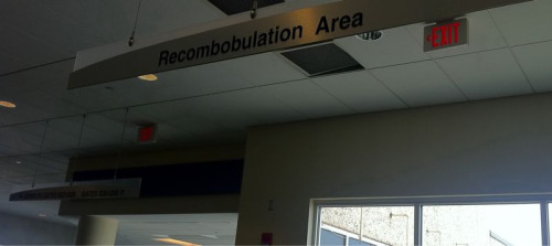 Recombobulation area? Milwaukee airport has a used bookstore, good coffee and an area to recombobulate. Oh thank you Midwest. Thank you