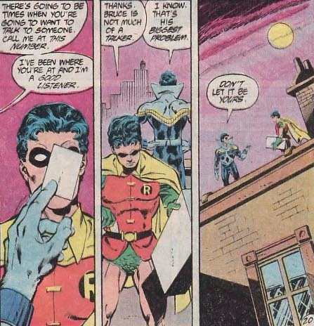 fyeahdickgrayson:  discowing:  LOLOL, this issue is so awesome.  Oh jeez I wonder how many exclamation points Tim's diary had that night. 'Dear Diary, I GOT DICK GRAYSON'S NUMBER!!!!!' WAIT THIS IS JASON. Less exclamation points. But only a little less.  Batman #416