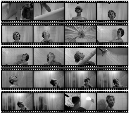 Stills from the famous shower scene in Psycho. From 1000 Frames of Hitchcock