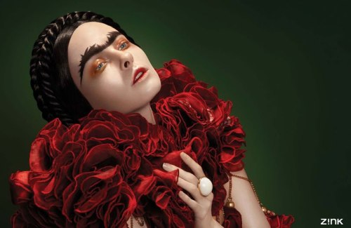 Frida Kahlo, channeled for Zink Magazine. (Image via Fashion Indie)