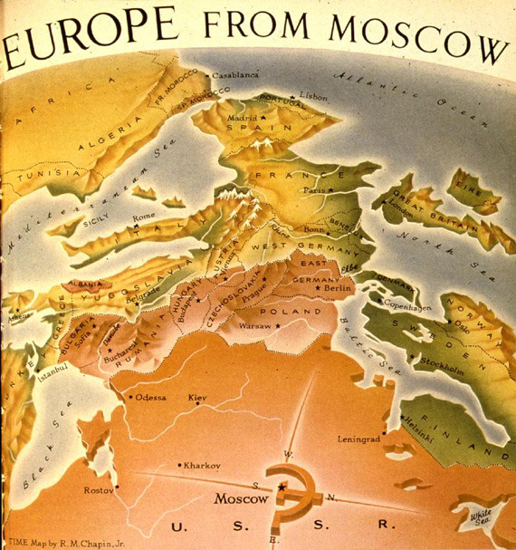 fuckyeahtherussia:  goodcabbage:  I've never seen a map like this, so awesome.  Very interesting perspective.