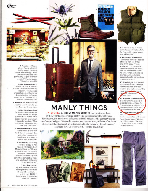 "New York Times Style Magazine's Men's Fall Fashion 2010 issue spotlights J. Crew's Men's Shop, the brand's new store featuring premium officer's chinos, narrow cut suits, and handpicked collectibles.  The collection, inspired by head designer Frank Muytjens, subtly weaves casual and classic style through threads of vintage appeal.   Our hats off to J. Crew!  And to Muytjens' nod to G E R M A I N, stating, ""It's dangerous territory for me."" We hear ""Danger"" is Mr. Muytjen's middle name. J. Crew Men's Shop is located on the Upper East Side at 235-237 West Broadway, NYC."