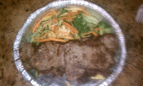 Dinner: steak and veggies