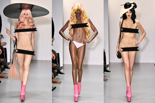 Nude Models Walk Runway at Charlie Le Mindu Show Look, ma — no pants! Wig designer Charlie Le Mindu raised eyebrows by sending nude models down the runway at his London Fashion Week fashion show. Well, that's one way to get our attention. Full story on StyleList here. [Models show off their toppers topless (and then some). Photos: FirstVIEW]
