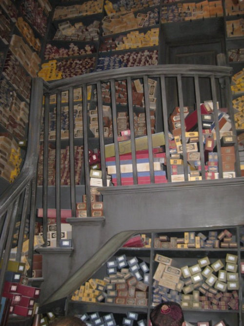 62442magic:  Wands. This is what it looks like inside Ollivanders. Out of all the rides and things this is the one that really made me tear up.