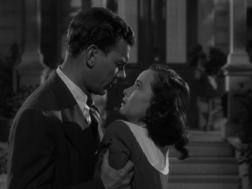 the-asphalt-jungle:  Joseph Cotten and Teresa Wright Shadow Of A Doubt - (1943) You think you know something, don't you? You think you're the clever  little girl who knows something. There's so much you don't know, so  much. What do you know, really? You're just an ordinary little girl,  living in an ordinary little town. You wake up every morning of your  life and you know perfectly well that there's nothing in the world to  trouble you. You go through your ordinary little day, and at night you  sleep your untroubled ordinary little sleep, filled with peaceful stupid  dreams. And I brought you nightmares.