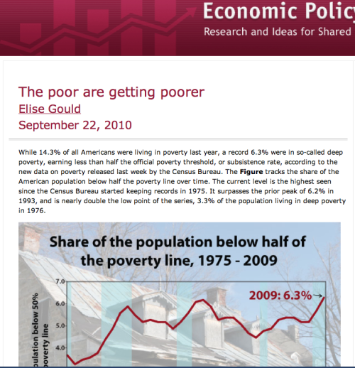 Quite an interesting article on the impact of the recession on poverty in the U.S.