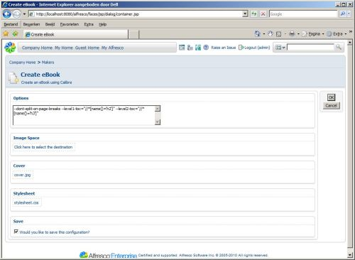 Updated interface for the Alfresco module for e-book support that I am currently developing. It's now using the Alfresco AJAX based file and folder selectors. I also added the ability to save the configuration using a custom aspect.