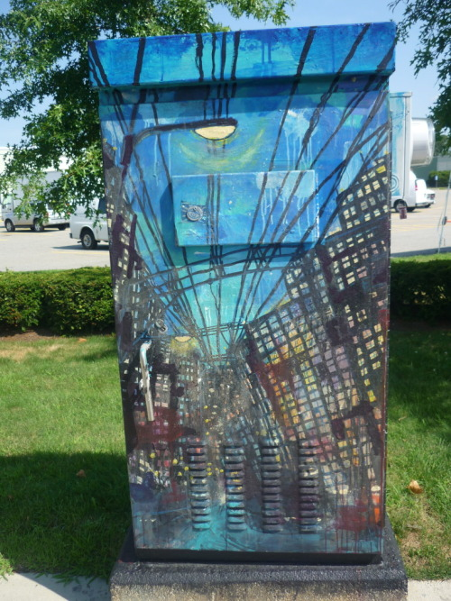 In America there obsessed with painting electrical boxes and making them epic!  this ones in Boston.  I've seen some in Belfast too, I advise people around the UK to do the same XD