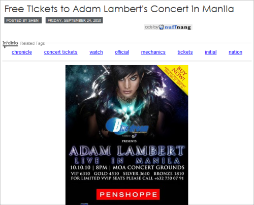 Free Tickets to Adam Lambert's Concert in Manila (Penshoppe) Click picture to be redirected