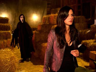 "When Scream 4 opens April 15, 10 years have passed. Cox's character, Gale Weathers, is now married to Dewey (Cox's real-life husband, David Arquette). ""I kind of gave up my job as the entertainment journalist,"" says Cox. ""I'm bored with my life and my marriage."" Bringing a little excitement to town is Sidney Prescott (Neve Campbell). Her return leads to more Ghostface murders, which reenergize Gale. Says Cox, ""Things start happening, and I couldn't be more thrilled.""  Hahahaha 'I couldn't be happier when people start getting murdered again.'"