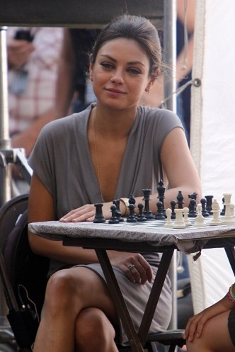mytasteinwomen kuniscrushing  mila kunis at a chess board  holy shitttttttttttt
