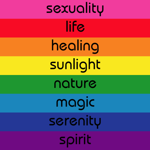 captainperfect:  gayinnj:  The message behind the colors of the Gay Pride Flag created by Gilbert Baker.  =D  Since Pride is in eight days(!!!) I thought I'd reblog this again.
