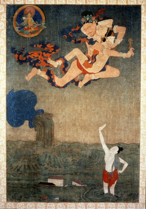 "Mahasiddha Ghantapa and the Great Flood, Anonymous (Tibetan), 18th century, pigments on cotton (Walters)  From http://blog.tsemtulku.com/tsem-tulku-rinpoche/buddhas-dharma/vajradhara-and-84-mahasiddhas.html Gandrapa was a prince of Nalanda but renounced the throne to be a monk, and later, a yogin. In his travels he met the guru Darikapa and was initiated into the Samvara mandala. He then travelled to Pataliputra, where King Devapala, a pious man welcomed monks and yogins into his kingdom. The king however, had a troubled mind, he still felt he had not accumulated enough merit for his next rebirths despite being a devout man. When he heard of Ghantapa from his wife, the royal pair decided to invite the holy man as their priest, however, the envoy they sent returned bearing news that the yogin refused. The next day, the king went in person to the master, prostrating himself before Ghantapa, the king begged him to come to the palace, but Ghantapa refused again. Everyday, for 40 days the king returned to Ghantapa to repeat his invitation, and was refused everyday. Finally, the king's pride was wounded and instead of pursuing their attempt to invite the yogin, he developed hatred for the holy man to the point they offered half of their kingdom to whoever was able to prove the yogin's virtue and chastity as merely a sham. Darima, out of greed, accepted the king's challenge and set off to send her beautiful daughter to ensnare the monk. Much like the king, Darima visited the yogin everyday, prostrating to him for 9 days offering him nothing but devotion. On the 10th day, she begged him to allow her to be his patron during his summer monsoon retreat. Ghantapa refused, but Darima was persistent, returning again and again for a month. Finally, seeing no harm, Ghantapa agreed. When the rain came, the yogin retreated to a little hut Darima had constructed for him at the far edge of her property. Warily, the monk insisted only male servants bring him food, which Darima agreed. However, on the 15th day, she sent her daughter to the hut. Surprized, Ghantapa insisted the girl leave immediately, but it began to rain heavily, so the monk agreed to share his hut with the girl until the rain stopped. Unfortunately the rain continued until sunset, with the excuse of being afraid she would be mugged by thieves, the monk allowed her to sleep outside the hut. But during the night, she became frightened and began to beg for his protection. With a sigh of resignation, Ghantapa allowed her to come inside the hut. The hut was very tiny. Inevitably, their bodies touched. Then their limbs intertwined. Before long, they had passed through the 4 levels of joy and traversed the path of liberation to its ultimate fulfillment. In 6 previous lives, this very girl was the cause of the monk's downfall, but in this life, such defilement had long since dissolved, and he had gained the true path. In the morning, he asked the girl to remain with him and she agreed. They became yogin and consort, and because of her service to him for 6 lives, the defilements of Ghantapa's consort's mind were also purified. One year later, their child was born. Darima never told any of this to the king, and finally at the 3rd year, when she thought the time was right, she informed the king. The king was overjoyed for the monk's downfall and said he will visit the monk and the girl in 3 days time. When they heard the news, the girl was very fearful. When Ghantapa asked if she wanted to stay and face them down, or leave Pataliputra, she begged him to flee with her, and he agreed. However, as they were leaving, they came face to face with the king and his followers. The king, looking down at the fleeing pair demanded answers for what he saw before him. The monk simply replied, ""I'm carrying a jug of liquor, I have my son under my robe, and this is my consort. When the king kept on repeating the accusations of what appeared to be Ghantapa's fault, Ghantapa hurled both his son and the jug of liquor onto the ground. This so frightened the earth goddess that she trembled with fear. The ground gaped open and a geyser of water began to flood the entire space. The child was instantly transformed into a thunderbolt and the jug into a bell. Whereupon the yogin, bearing thunderbolt and bell, levitated with his consort into the sky, where they become the deities Samvara and Vajra Varahi joined in father-mother union. The drowning people screamed, declaring they would take refuge in the master, but Ghantapa remained adamant in his Samadhi of immutable wrath. Suddenly, the Bodhisattva of Compassion appeared. Avalokitesvara placed his holy foot over the source of the flood and the water immediately flowed backward into the ground, and as if by magic, a stone image of the Bodhisattva appeared where his foot had trod. It remains there to this very day. Everyone was saved. Prostrating themselves, they begged for forgiveness. Still hovering above the assemblage, Ghantapa said ""Moral concepts practiced without understanding can be the greatest of obstacles to fulfilling the Bodhisattva's vow of uncompromising compassion. Do not cultivate virtue and renounce vice. Rather, learn to accept all things as they arise. Penetrate the essence of each experience until you have achieved the one taste."" At this, everyone was illuminated and their self-righteousness and petty prejudice vanished. Faith was born in the lotus of each heart. Ghantapa's fame rang out to all the corners of the earth. Possessing the power and virtue of a Buddha, the yogin ascended into the Paradise of the Dakinis with his consort."