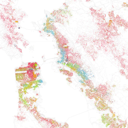 Eric Fischer maps race and ethnicity in American cities.  Featured: San Francisco Bay Area