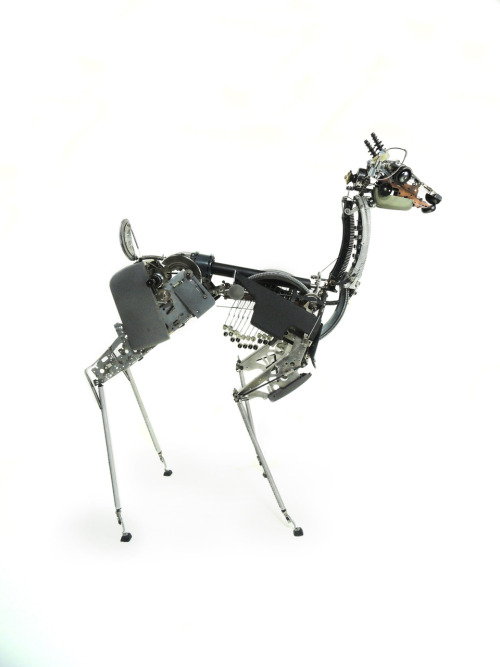 "Deer III. Typewriter parts 36""x15""x36"" 2010 Jeremy Mayer"