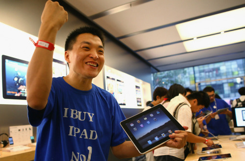 Somehow I don't think this is the first iPad in China since a factory in China has been making them for almost a year now.  Scenes from China - The Big Picture - Boston.com Han Ziwen celebrates his purchase of the first Apple iPad tablet computer in China at the Apple store in Beijing on September 17, 2010 as Apple began selling iPads in China. (ChinaFotoPress/Getty Images)