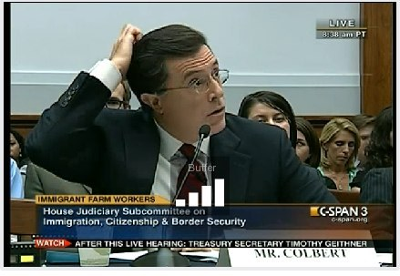 "By now everyone has seen Stephen Colbert's opening statement during a hearing of the Subcommittee on Immigration, Citizenship and Border Security. But the most interesting moment was what happened at the end. Judy Chu, US Representative for California asks: ""Mr. Colbert, you could work on so many issues, why are you interested in this issue?"" There is a brief pause. Colbert nervously brushes his fingers through his hair, and in the background you can hear the flick, flick, flicker of the cameras going off until they become a steady tap like a storm. It is in this moment that we see Colbert the character become Colbert the person and he says:  ""I like talking about people who don't have any power. And this seemed like one of the least powerful people in the United States are migrant workers who come and do our work but don't have any rights as a result, and yet we still invite them to come here and at the same time ask them to leave and that's an interesting contradiction to me. And you know, 'what's so ever you do for the least of my brothers.' And these seemed like the least of our brothers—right now and lot of people are least brothers right now because the economy is so hard, and i don't want to take any one's hardship away from them or diminish anything like that, but migrant workers suffer and have no rights."" Relevant section of the video is at the two hour mark."