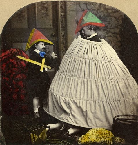 nookphotos:  Hand painted photograph. Note the extra pair of legs bottom centre.Anon. 126-An Encampment Extraordinary n.d.   Stereoview, detail, tinted Jeffrey Kraus Antique Photographica  Eeeeeeeeeeeeek! NOES! Phantom legs! >_<