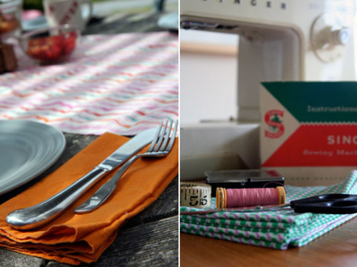 how to sew a table runner and cloth napkins. precious and looks so easy.