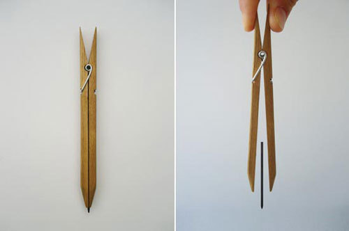penchant-for-design:  A simple but innovative design of a modern pencil by Yuta Watanabe, basically using a modified clothes peg to hold a pencil lead in place.