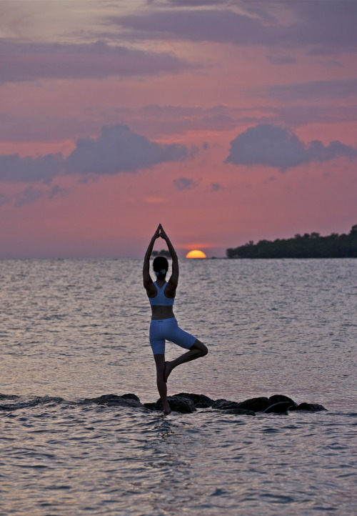Yoga on the Jamaican ocean during a Magic Hour. Incredible feeling!