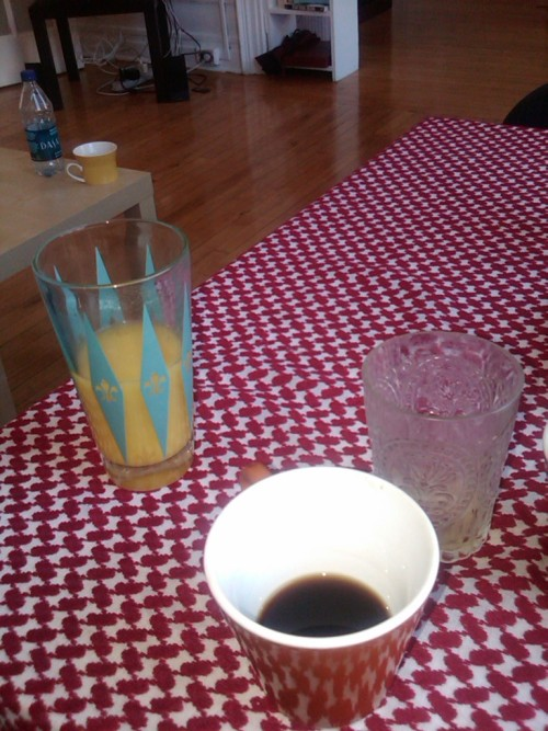 ry 'n em's ridic new apt. bad coffee + stoli 100 screwdriver.