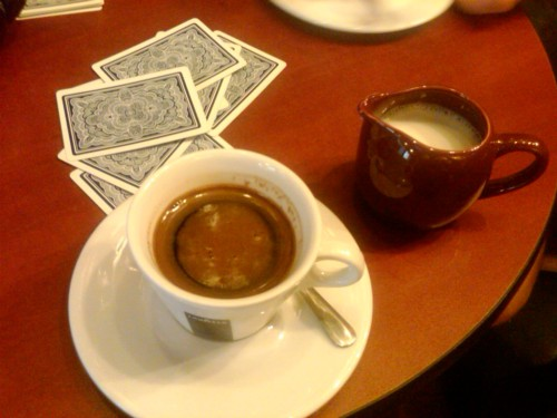 turkish coffee + 500 rummy w/ ry 'n em.