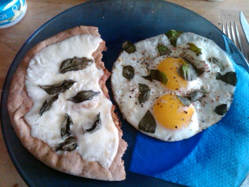 "MEAL ""basil days"" wholegrain pita/mozzarella/basil fried egg/basil"