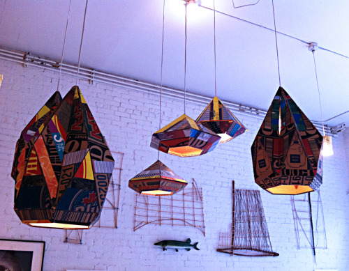 hand-painted cardboard light fixtures (from andy barrett)