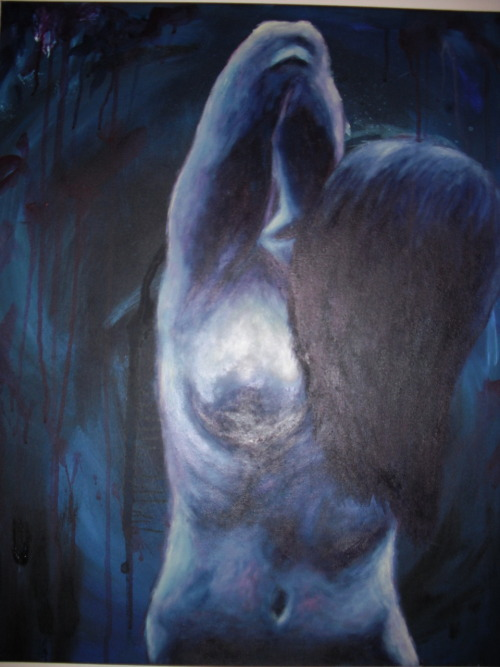 Nude in Blue, 2010. Acrylic on cavas. This is a really shitty photo of this painting. Anywhooo painted in red and blue, like passsion and sorrow, I was thinking of love and intimacy when i painted this. Because being vulnerable with another person is a pretty scary thing, but ultimately worth it.