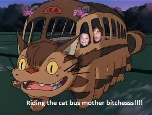 Me and Vince just chillin' on the catbus… (From Totoro)