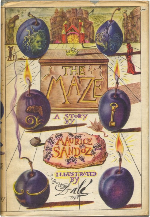 The Maze  Maurice Sandoz and Salvador Dali.  Garden City: Doubleday, Doran and Co., 1945. First edition.  A macabre tale illustrated with numerous full-page, black-and-white drawings by Dali. Near fine in very good full-color Dali-illustrated dust jacket with spine slightly tanned and quarter-inch chipped from head of spine.