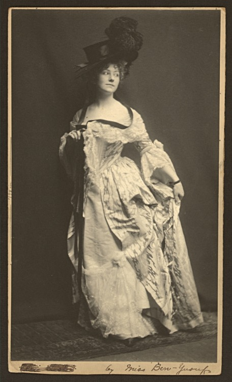 Actress Elsie Leslie (1881-1966) in costume as Lydia Languish in Richard Sheridan's play The Rivals, 1899. Photograph by Zaida Ben-Yusuf. From the Library of Congress.