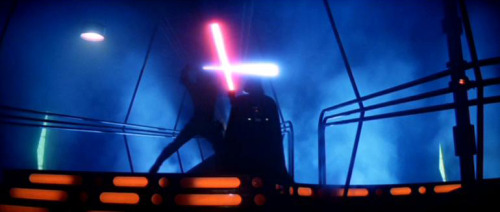 Star Wars Episode V: The Empire Strikes Back This movie, with all it's groundbreaking visual effects and the best story line of all the Star Wars, comes down to one thing: the battle of good verses evil. Here we see Luke Skywalker (Mark Hamill) locked in a lightsaber duel with his father Darth Vader (James Earl Jones). Hope I didn't spoil anything for you